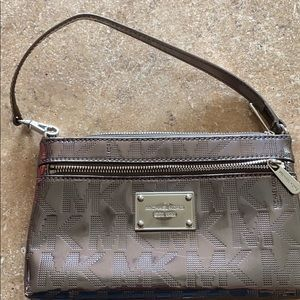 Michael Kors metallic wristlet purse